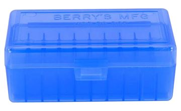Picture of BERRYS MANUFACTURING INC Ammo Box BERRYS 40302     403 AMMO BOX  .38 357  50RD BLUE 711148403027